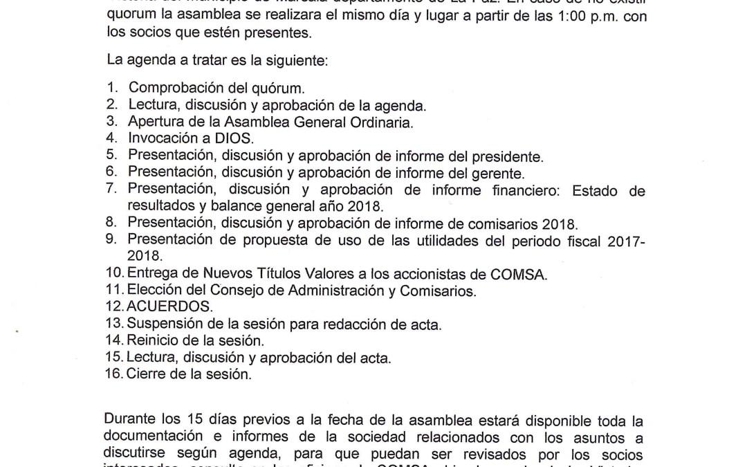 Convocatorias para Asamblea General Extraordinaria y Ordinaria