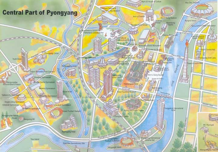 Map of the Pyongyang City Centre with tourist attractions - Mega North Korea map