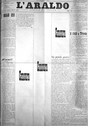 """Prima pagina del settimanale cernobbiese """"L'Araldo"""" del 24 maggio 1915"""