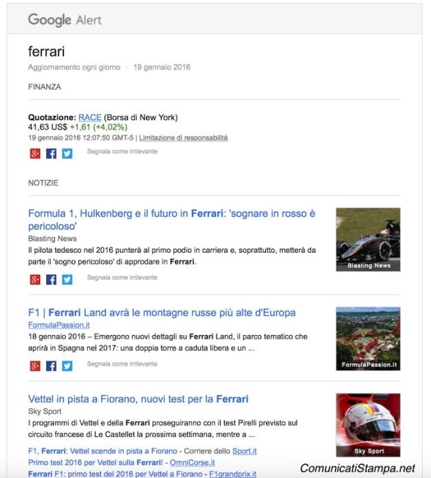 """Risultati di una rassegna stampa automatica online sul termine """"Ferrari"""" con Google Alerts"""