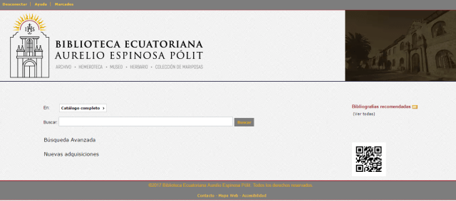 Catálogo Biblioteca Ecuatoriana Aurelio Espinosa Pólit