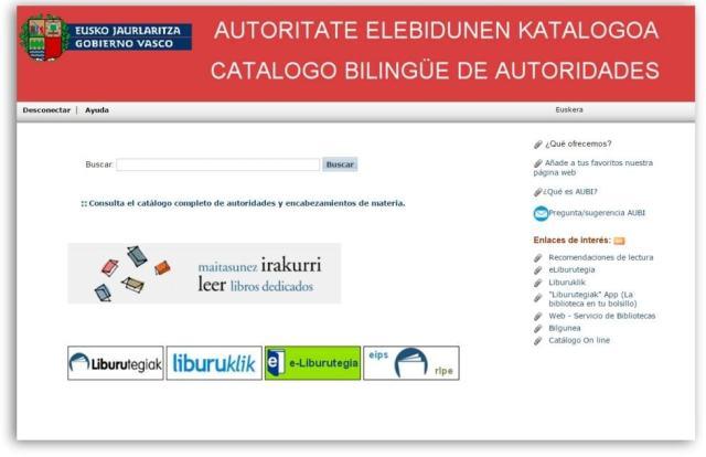 Catálogo Bilingüe de Autoridades Sistema Nacional de Bibliotecas de Euskadi