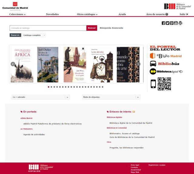 Catálogo de la Red de Bibliotecas Públicas de la Comunidad de Madrid (2016)