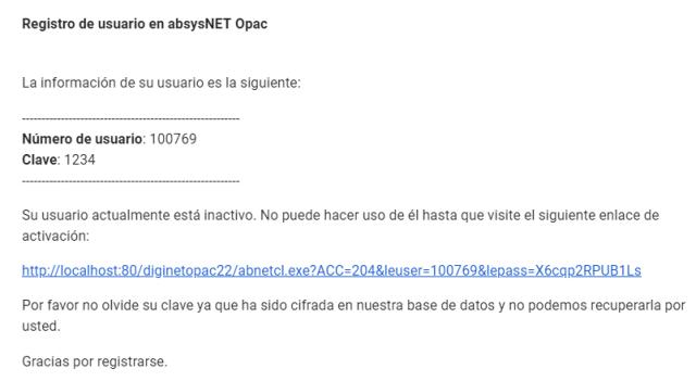 Registro de usuario en AbsysNet Opac