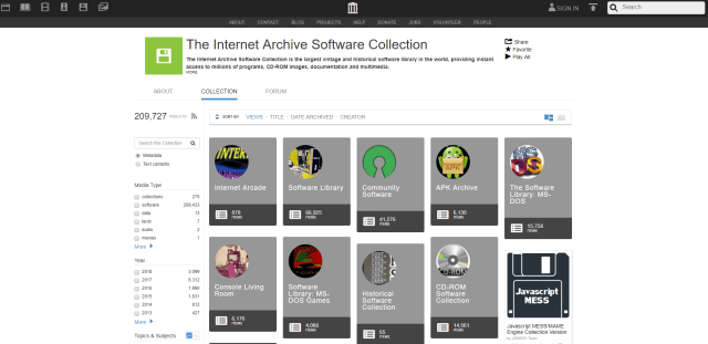 The Internet Archive Software Collection