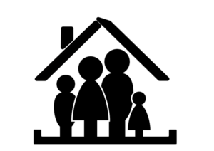 family in a house illustration