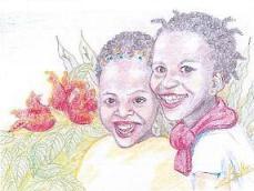 Dos niños africanos riendo-Bárbara M