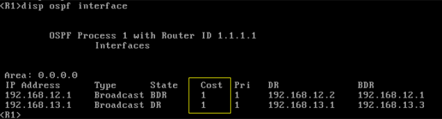 OSPF Cost 1 output Comware