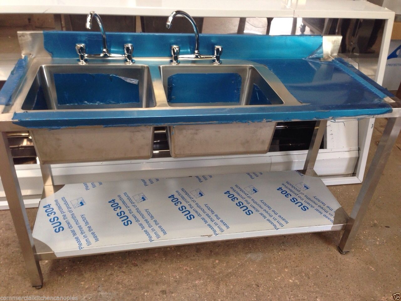 commercial catering kitchen stainless steel sink double bowl right