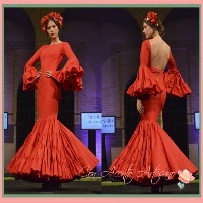 Traje de flamenca rojo y canastero de Sebastian Hidalgo