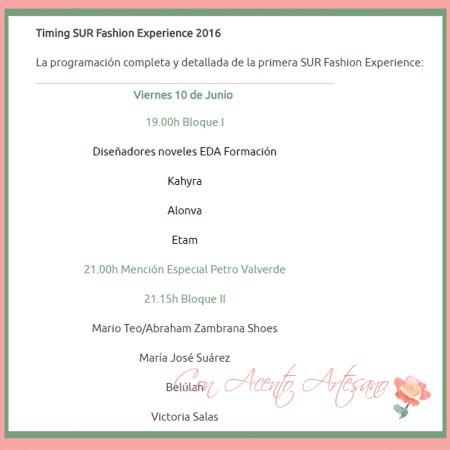 Programa Desfiles Pasarela Sur Fashion Experience