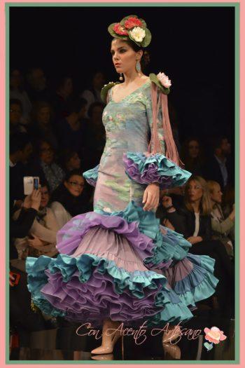 Traje de flamenca de Ángeles Gálvez inspirado en Nenúfares de Monet