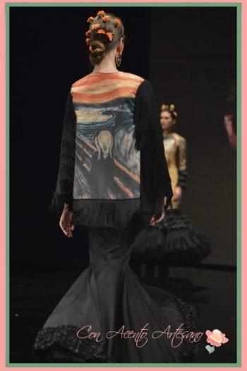 Traje de flamenca de Ángeles Gálvez inspirado en El Grito de Munch