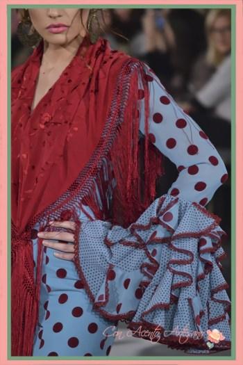 Detalle mangas de un traje de flamenca de Carmen Acedo para este 2018