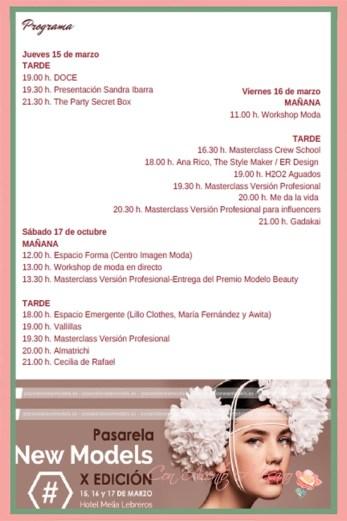 Programa de desfiles y actividades de moda y belleza en la Pasarela New Models marzo 2018, X edición