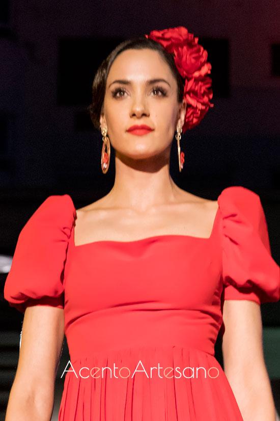 Traje de flamenca rojo de Leticia Lorenzo