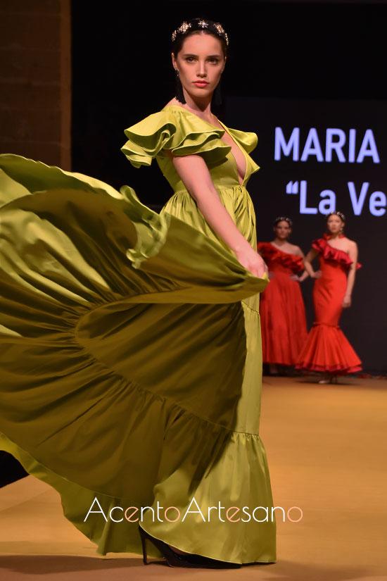 Traje de flamenca canastero en pistacho de María Bustos