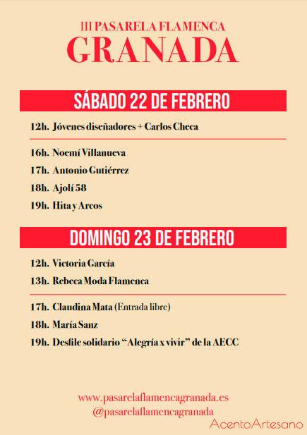 Programa de desfiles Pasarela Flamenca Granada 2020