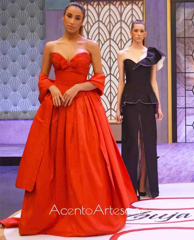 Vestido rojo de Antonio Ardón, inspiración en la prueba por equipos de Aguja Flamenca