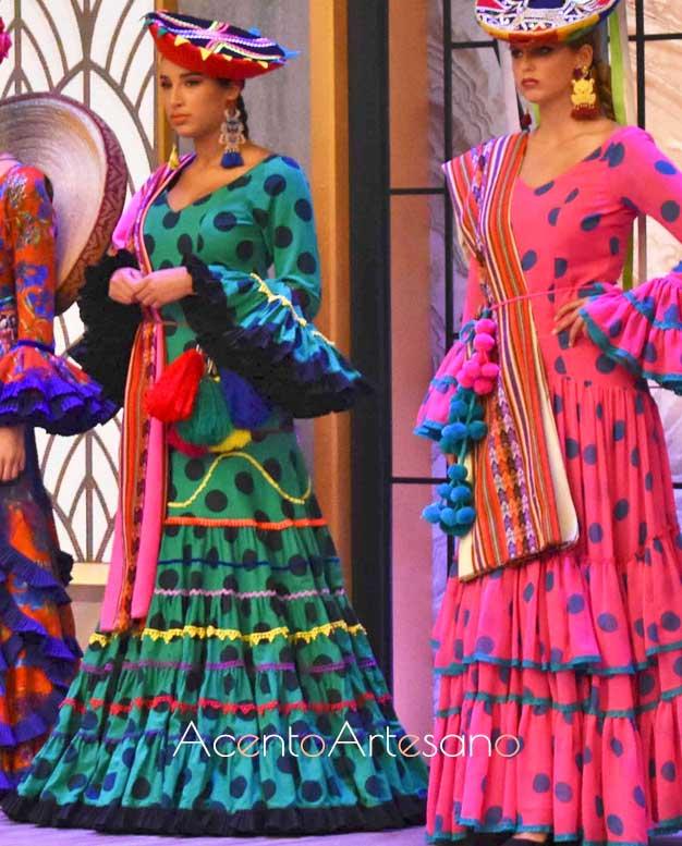 Trajes de flamenca de la colección 'Pariwana' de Rocío Peralta en Aguja Flamenca