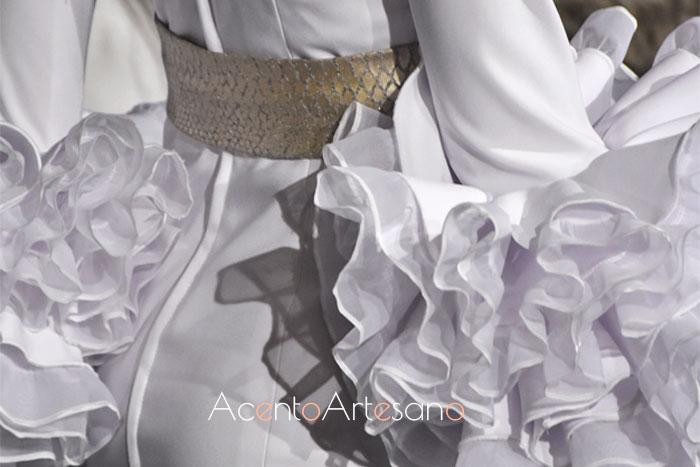Detalle de mangas y espalda de traje de flamenca de la colección Saudade de Mg Macías