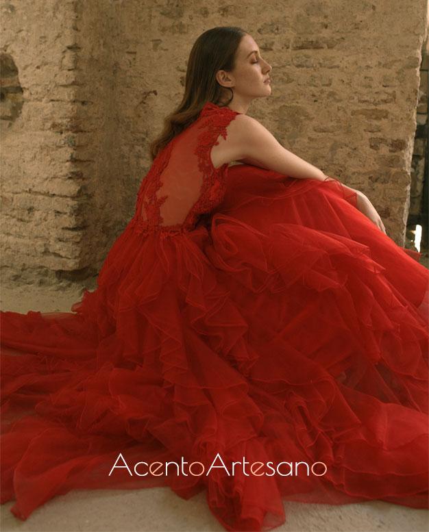 Vestido rojo de Carmen Latorre para SIQ, Handcraft & Fashion