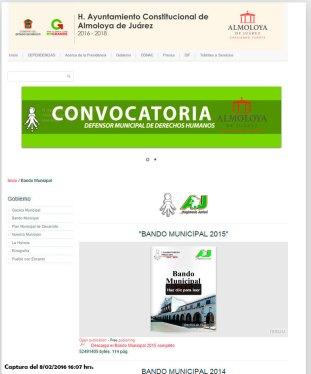 No se muestra el Bando Municipal 2016 en la Web