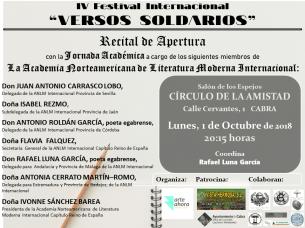 Cartel Recital inaguración Versos Sol ANLM