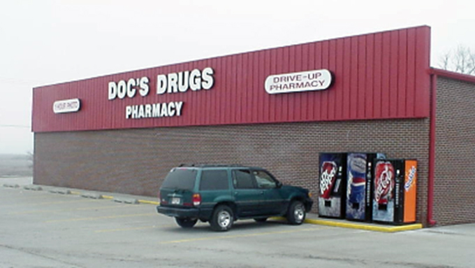 Doc's Drugs Pharmacy Leroy Steel Frame Building
