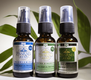 bottles of hemp oil