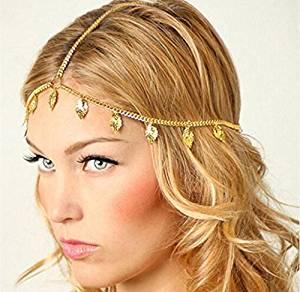 Deniferymakeup - Cadena de boda bohemia bohemia con diseño de hojas de boda y cabeza griega 1