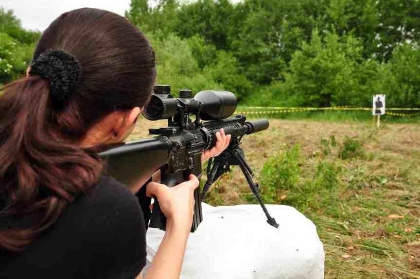 Women prepper shooting ar-15