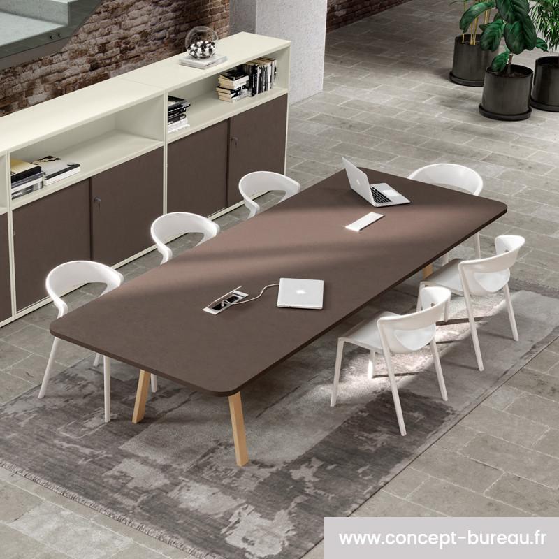 table de reunion 8 10 personnes pieds bois reau