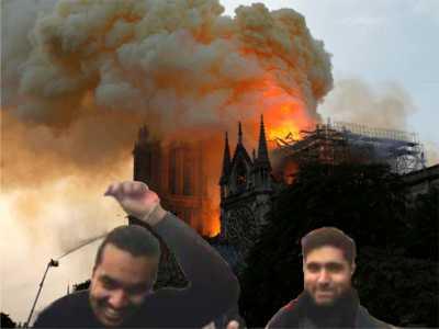 Notre Dame brennt - Moslems jubeln Allah ist groß