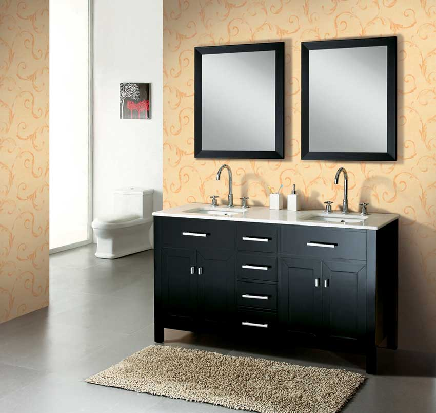 "60"" solid wood double bathroom vanity - dark espresso ag-x017"
