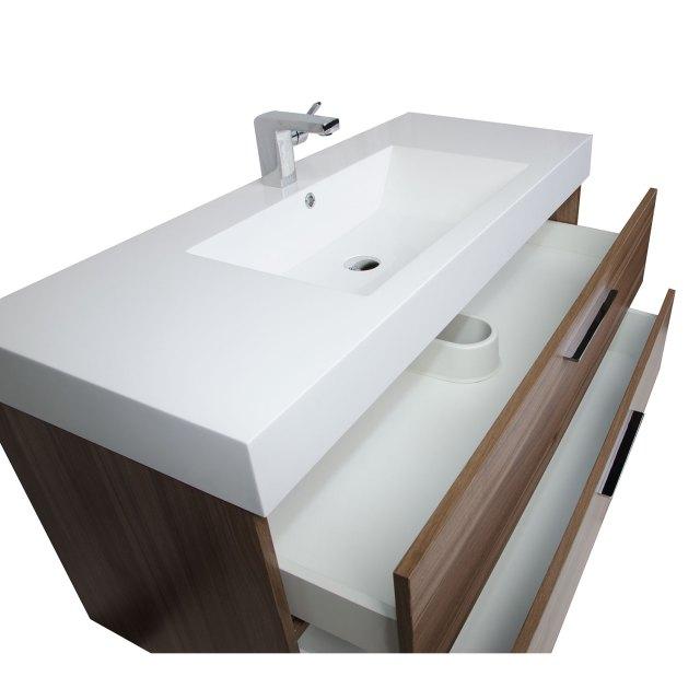 47 Inch Contemporary Bathroom Vanity in Walnut RS L1200 WN