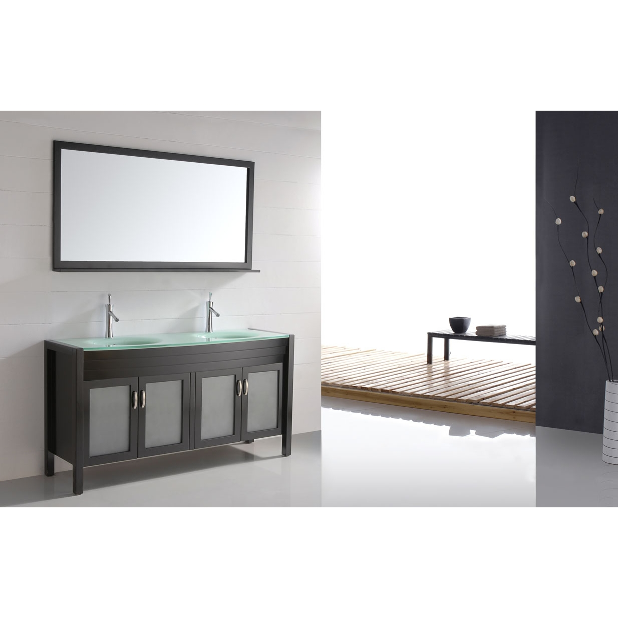 60 solid wood double sink vanity tempered glass top espresso cb6011