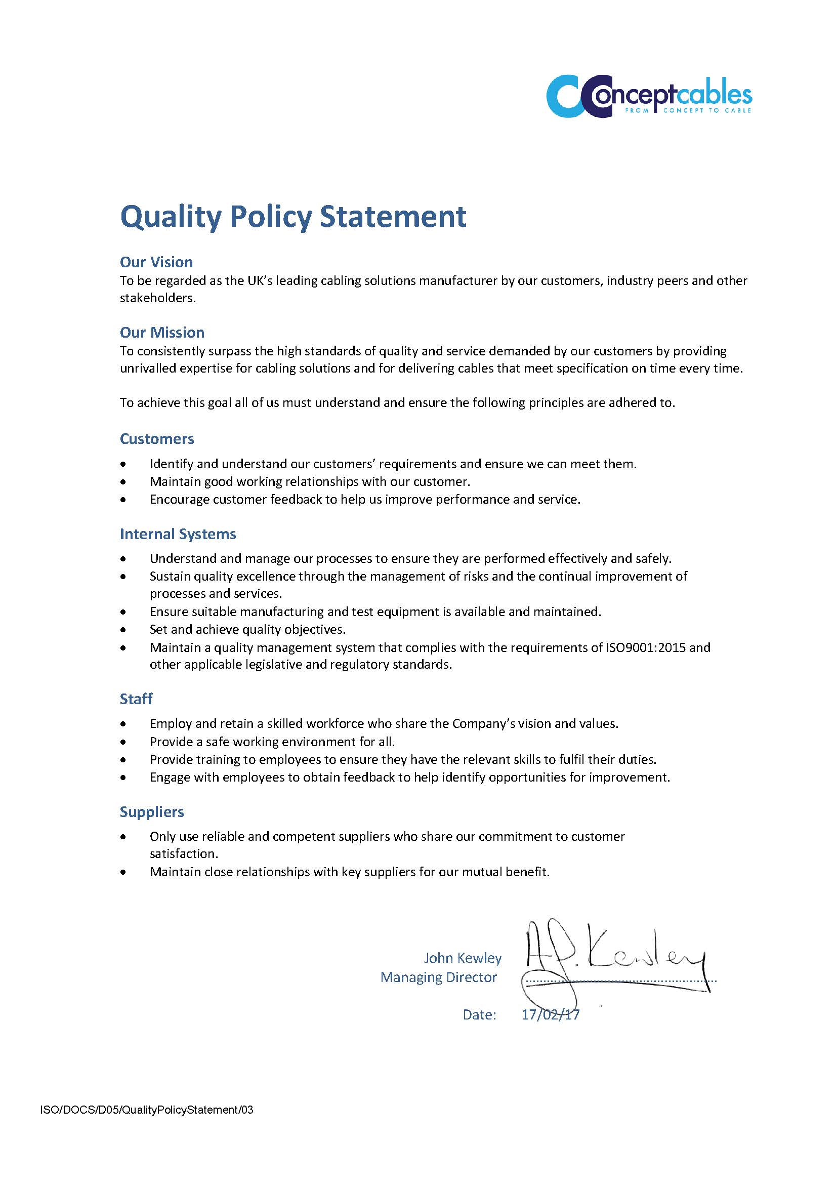 Quality Policy Statement Concept Cables