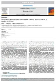 Mifepristone for emergency contraception: Case for recommendation in practice guidelines