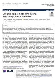 Self-care and remote care during pregnancy: a new paradigm?