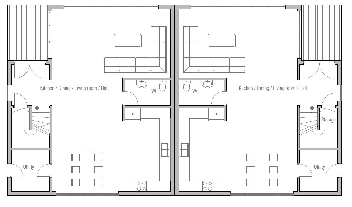 Duplex House Plan CH392D House Plan