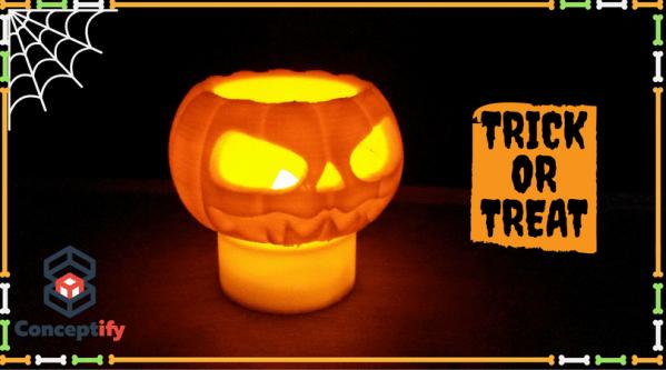 Photophore citrouille réalisé par impression 3D pour Halloween