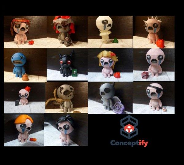 Personnages de Binding of Isaac réalisés par impression 3D