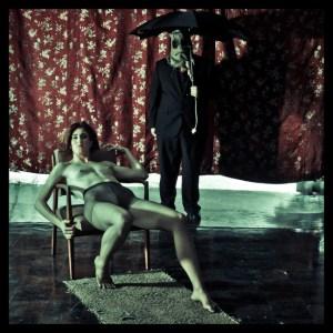 scarecrow dark, brooding, nude model relaxing
