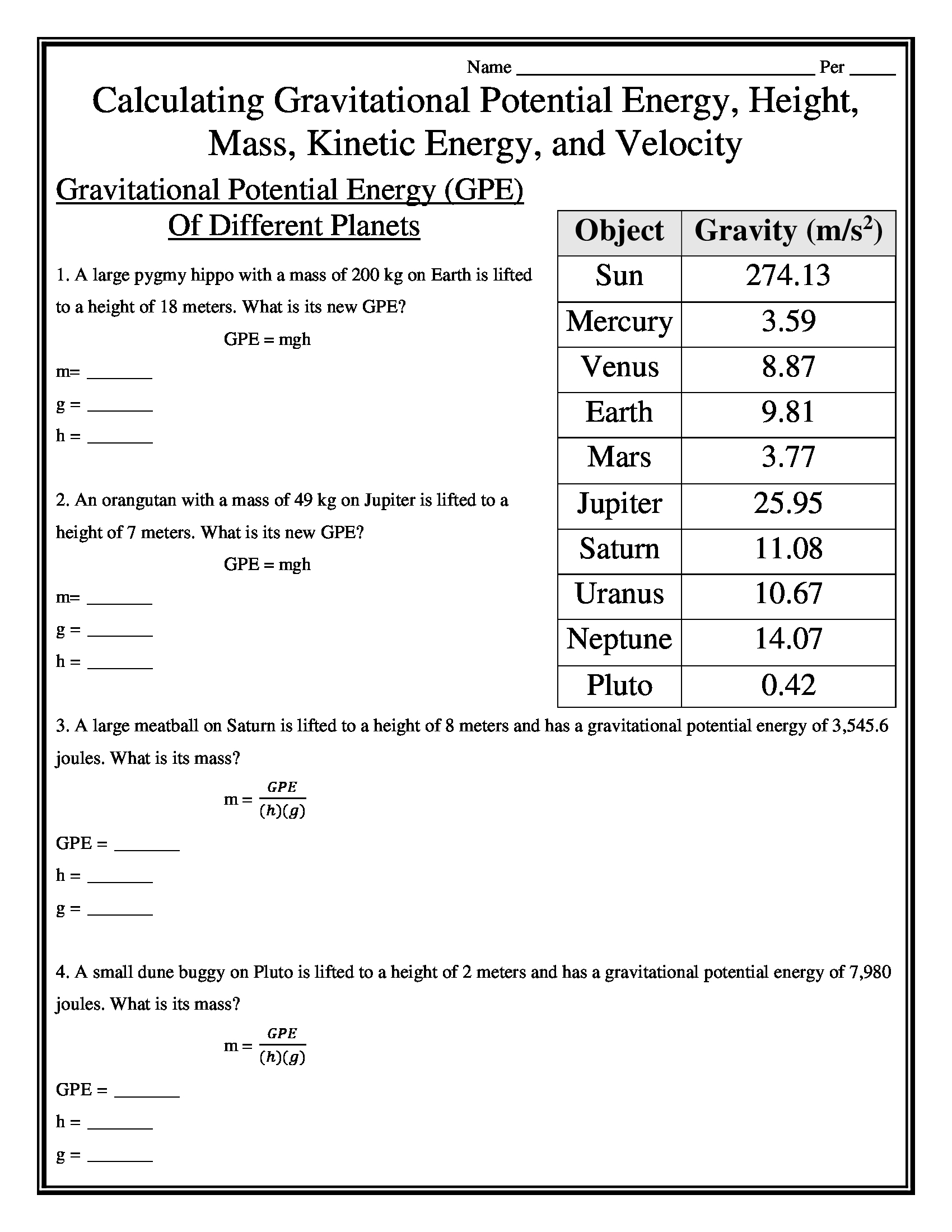 Calculating Gravitational Potential Energy Height Mass