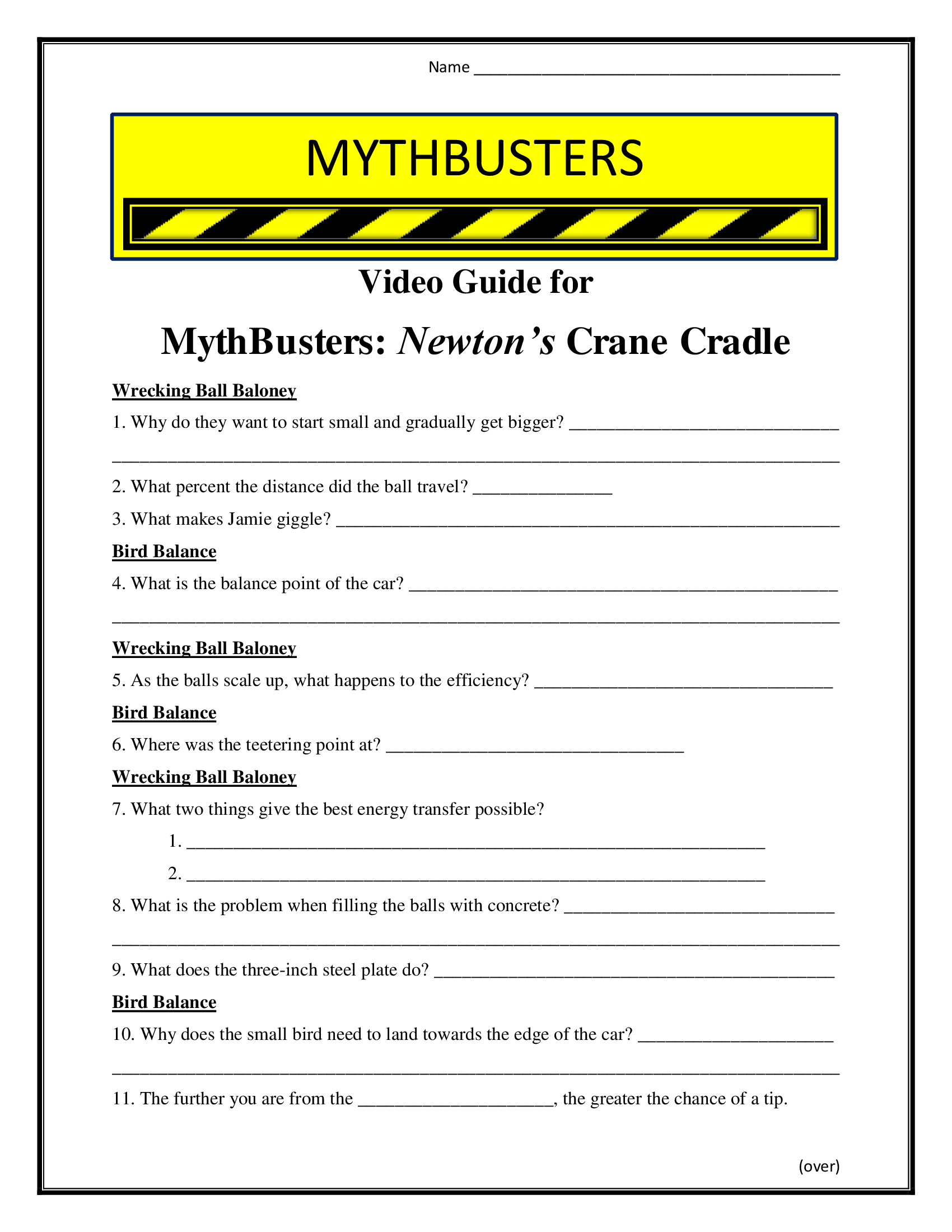 Mythbusters Newton S Crane Cradle Worksheet Season 8