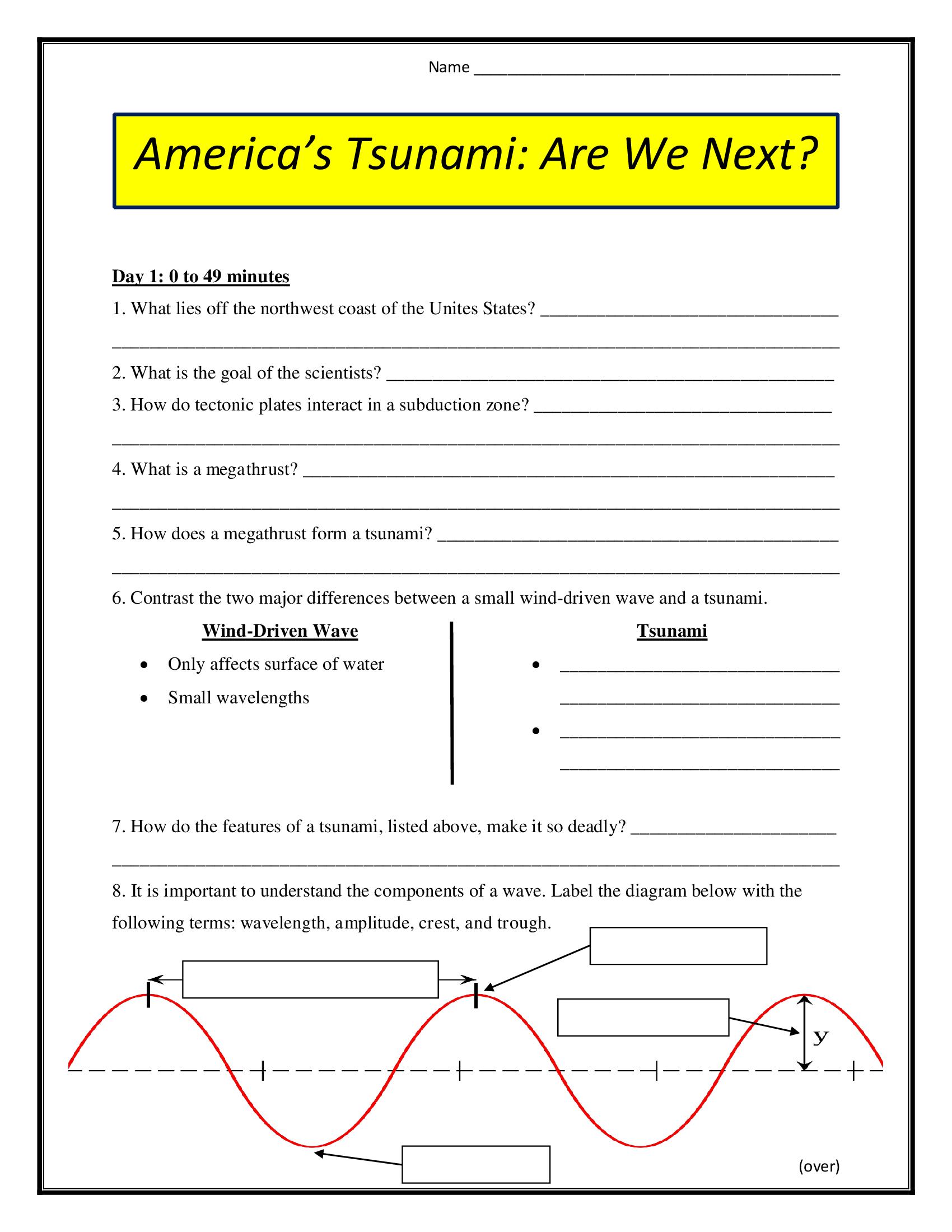 America S Tsunami Are We Next Worksheet