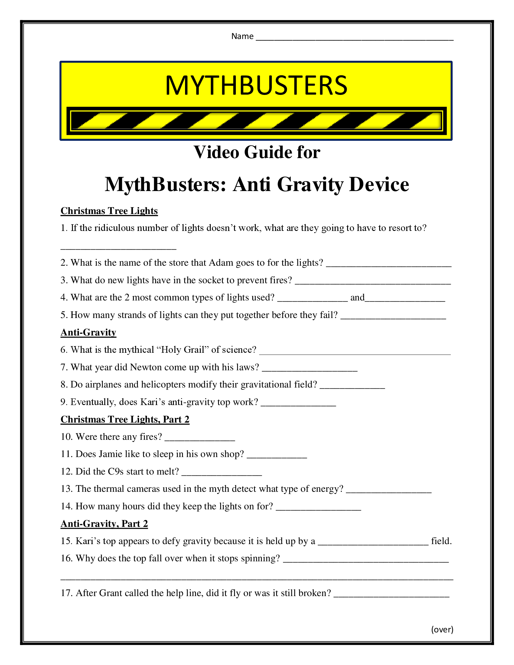 Mythbusters Anti Gravity Worksheet Season 4