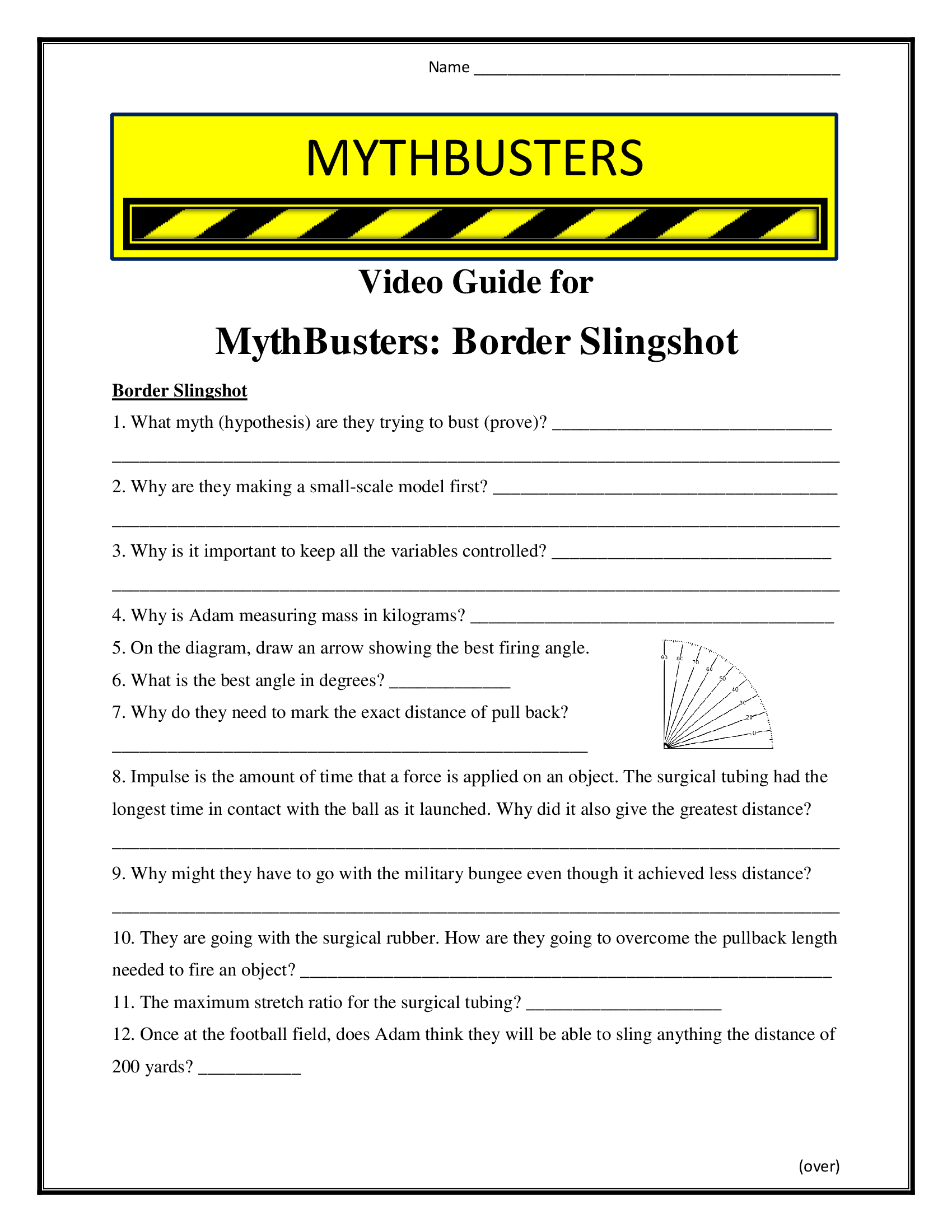 Mythbusters Border Slingshot Worksheet Season 3