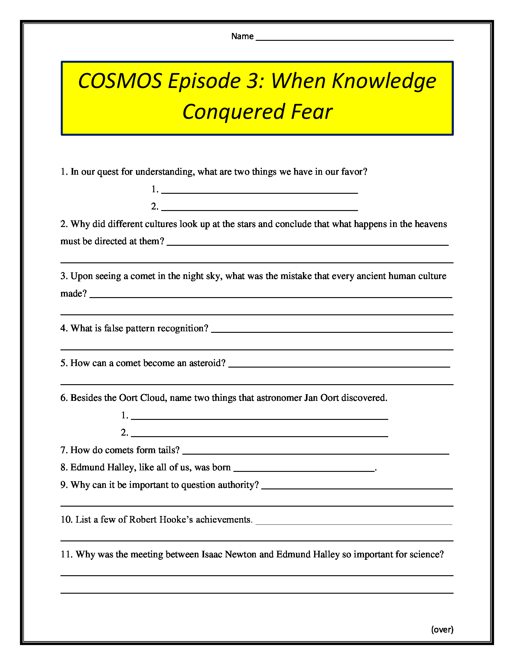 Cosmos Episode 3 When Knowledge Conquered Fear Worksheet